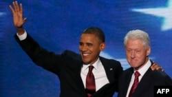 Барак Обама ва Бил Клинтон дар анҷумани ҳизби демократи ИМА