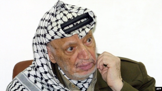 Yasser Arafat during an official meeting at his headquarters in the West Bank town of Ramallah in 2004