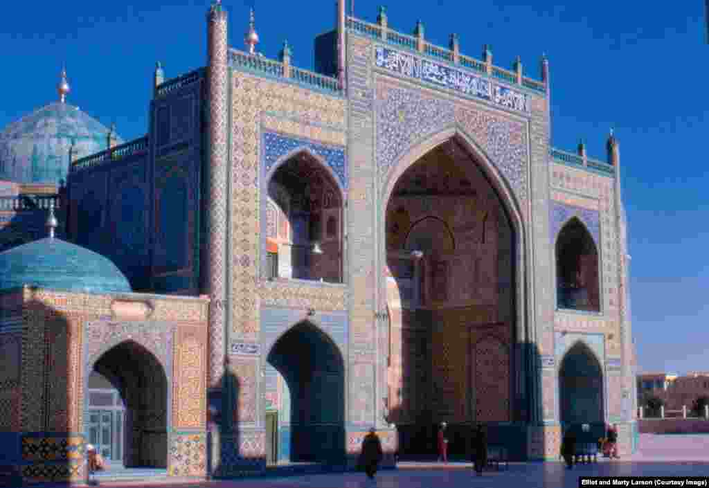 The Blue Mosque in Mazar-e Sharif. In 2011, the year the Larsons last returned to Afghanistan, four people were killed when a bicycle bomb exploded near the mosque.