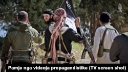 Jihadists from the Balkans appear in a propaganda video for the extremist Islamic State group that was published on social media on on June 4.