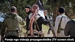 Fighters from the Balkans, including Macedonia, are shown in a propaganda film by the Islamic State insurgent group in 2015. (file photo)