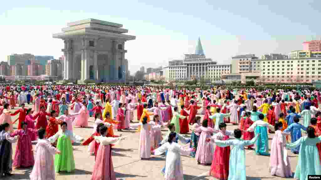 Dancers in Pyongyang on April 11, the fourth anniversary of supreme leader Kim Jong Un's assumption of North Korea's top post.