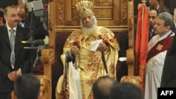 Pope Shenuda III, the late head of the Egyptian Coptic Orthodox church, at a Christmas service in 2010.