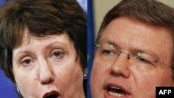 Представитель Евросоюза по внешней политике Кэтрин Эштон (слева) и комиссар по вопросам расширения Штефан Фюле (справа).