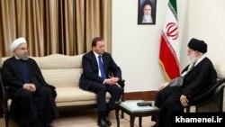 دیدار علی خامنه ای و حسن روحانی با استفان لوفون، نخستوزیر سوئد،در تهران