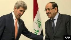 Sekretari amerikan i Shtetit, John Kerry së bashku me kryeministrin irakian, Nuri al-Maliki në Bagdad, 23 qershor 2014