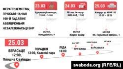 Дазволеныя ўладамі мерапрыемствы з нагоды 100-годзьдзя БНР