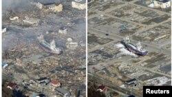Зона, пострадавшая от цунами в префектуре Мияги. Слева фото, сделанное 12 марта 2011 года, справа - 3 марта 2012.