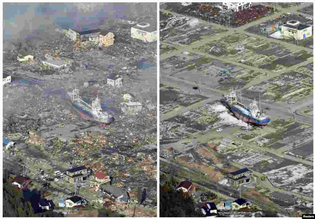 On the left, an aerial view of a tsunami-devastated area in Kesennuma on March 12, 2011, and on the right, on March 3, 2012