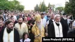 Mitropolit Amfilofije na litiji u Podgorici, 14. jun