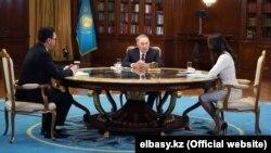 Бывший президент Казахстана Нурсултан Назарбаев в эфире республиканского телеканала. Октябрь 2019 года.
