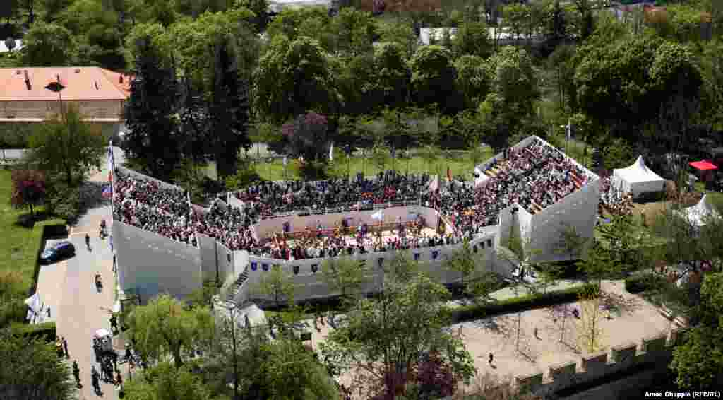 The small but well-filled arena, situated on a hill overlooking Prague.