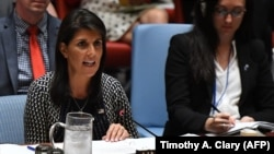 U.S. Ambassador to the United Nations Nikki Haley speaks as the Security Council at the United Nations in New York, September 28, 2017