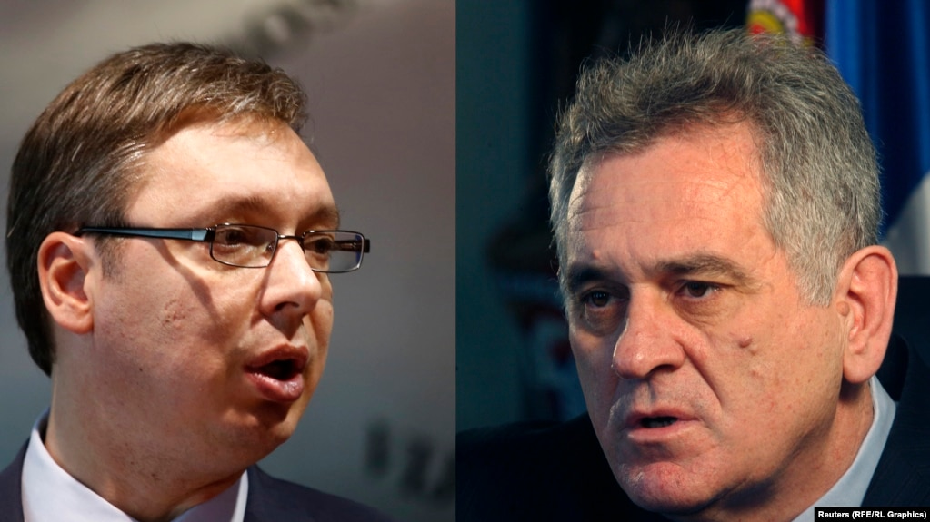 "An party statement suggests Aleksandar Vucic (left) will ""continue talks"" with President and fellow SNS member Tomislav Nikolic (right) in an effort to avoid any split within the party's ranks."