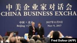 Donald Trump și Xi Jinping în Marea Sală a Poporului de la Beijing, 9 noiembrie 2017.