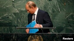 Президент Росії Володимир Путін на трибуні Генасамблеї ООН, Нью-Йорк, 28 вересня 2015 року