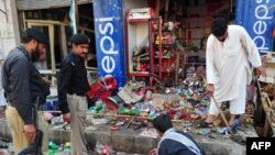 Charsadda was hit by another bomb blast in late March (pictured).
