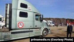 Пробка из фур на китайско-российской границе