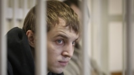 Jailed Belarusian activist Zmitser Dashkevich in court during his trial last year.