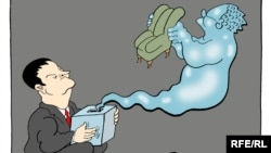 """Karikaturë e Ivica Daçiqit dhe Sllobodan Millosheviqit, nga """"Corax""""."""