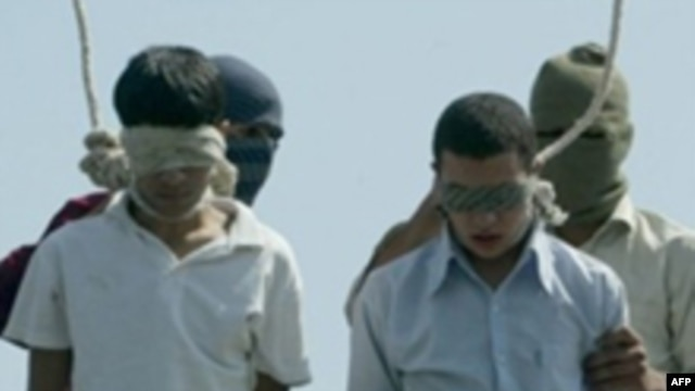 Two Iranian teenagers hanged publicly in 2005 on charges of raping younger boys.