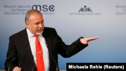 Germany - Israel's Defense Minister Avigdor Lieberman speaks at the 53rd Munich Security Conference in Munich, Germany, February 19, 2017.