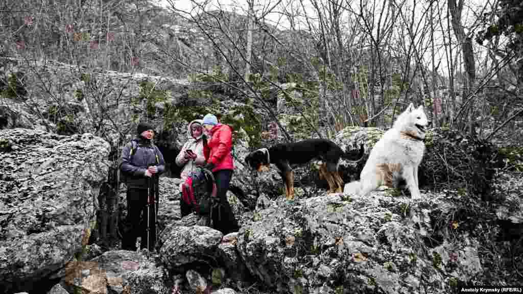 За спинами туристов – вход в пещеру Ени-Сала III. Местные собаки «безвозмездно» сопровождали туристов до самой пещеры.