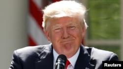 Дональд Трамп падчас прамовы пра выхад ЗША з Парыскага пагадненьня 1 ліпеня