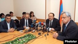 Armenia -- Representatives of the Prosperous Armenia Party, the Armenian Revolutionary Federation and the Armenian National Congress at a joint news conference, 11May2012.