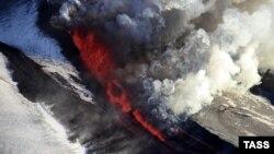 Vulkan na Kamčatki, ilustracija