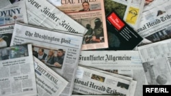 Generic – A photo of European and world newspapers, Prague, 17Jun2009