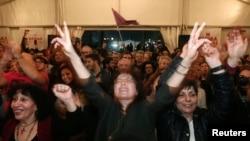 Simpatizanți Syriza la Atena, 25 ianuarie 2015.