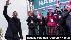 Российский политик Алексей Навальный на митинге в Новосибирске, сентябрь 2017