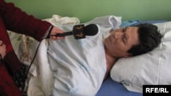 Abdyldaev recovers in a Bishkek hospital on March 5.