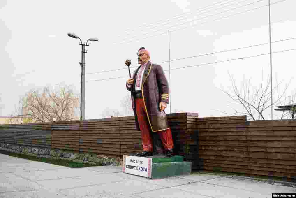 The Lenin of Cherkasy has been transformed into a Ukrainian Cossack and now welcomes visitors at the entrance to a sports club. The Cossacks once ruled the steppes of what is now central and eastern Ukraine.Their autonomy, and hostility toward the Russian Empire, has made them symbols of independence for modern Ukrainians.