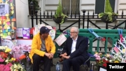 UK Labor Leader Jeremy Corbyn visiting Richard Ratcliffe who was on a hunger strike outside the Iranian embassy in London for his imprisoned wife. June 24, 2019