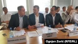 Zoran Lutovac (DS), Nebojša Zelenović (SzS) i Aleksandar Ivanović (SDS)