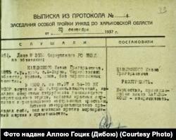 Постанова про розстріл Івана Каневського