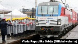 Doček kineskog voza sa opremom na Novom Beogradu, 26. maj