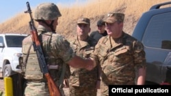 Nagorno-Karabakh -- General Artak Davtian (R), chief of the Armenian army's General Staff, inspects frontline troops in Karabakh, July 3, 2019.