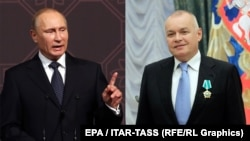 "Defending 'traditional values."" Vladimir Putin and Dmitry Kiselyov"