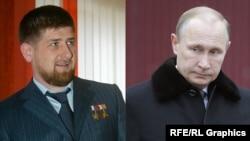 Рамзан Кадыраў і Ўладзімір Пуцін (камбінаванае фота)