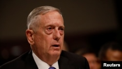 U.S. Defense Secretary Jim Mattis testifies before the Senate Armed Services Committee in Washington on June 13.