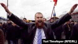 Дзьмітрый Дзёмушкін на «Рускім маршы» ў маскоўскім Любліно.