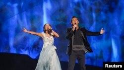 Участники из Грузии репетируют перед вторым отборочным полуфиналом «Евровидения-2013» в Мальмё. 15 мая 2013 года.
