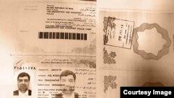صفحه اصلی گذرنامه غضنفر رکنآبادی و مهر ورود به خاک عربستان که وزارت امور خارجه ایران منتشر کرده است.