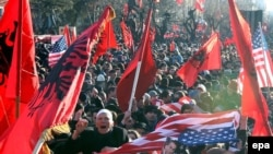 Kosovo Albanians celebrate independence in February 2008