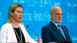 المسؤولة الأوروبية فيديريكا موغيريني ووزير الخارجية العراقي إبراهيم الجعفري