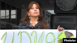 Armenia -- Opposition MP Zaruhi Postanjian attends a protest against possible uranium mining in Kapan, 11Nov2010.