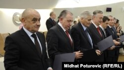 Bosnia and Herzegovina's new cabinet led by Prime Minister Vjekoslav Bevanda (in foreground)
